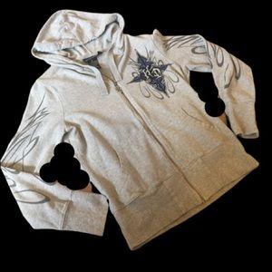 Harley Davidson Grey Zip Front Hoodie Sweatshirt